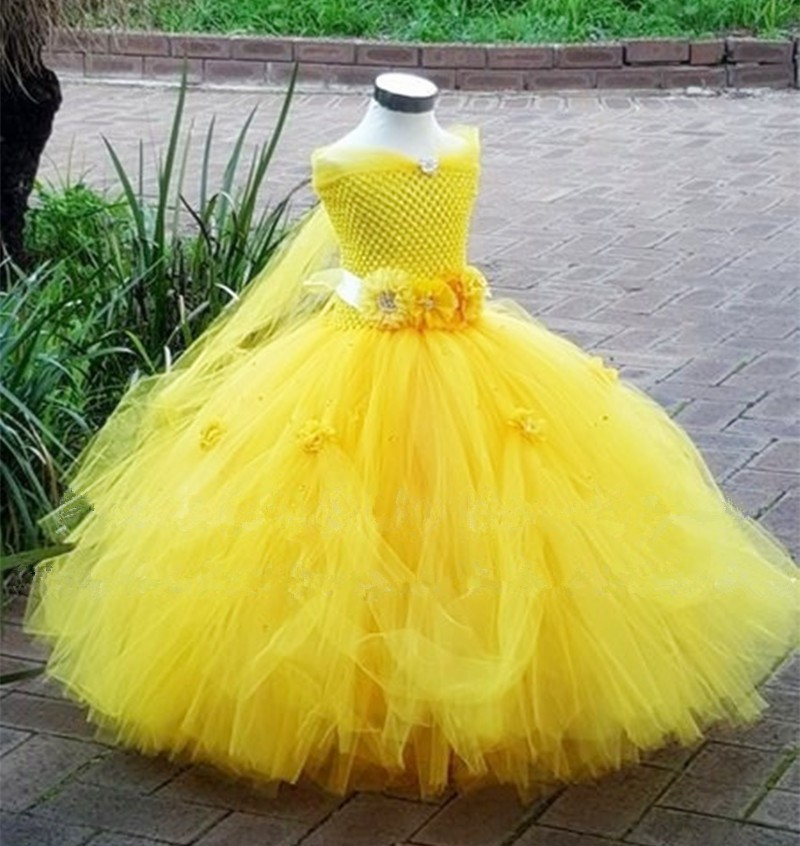 Belle Princess Tutu Dress Baby Kids Fancy Party Christmas Halloween Costumes Beauty Beast Cosplay Dress Flowers Girls Ball Gown glittery girls tutu dress elsa belle princess dress girls party dresses pageant gowns baby kids cos beauty and the beast costume