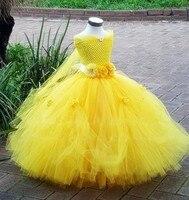 Belle Princess Tutu Dress Baby Kids Fancy Party Christmas Halloween Costumes Beauty Beast Cosplay Dress Flowers Girls Ball Gown