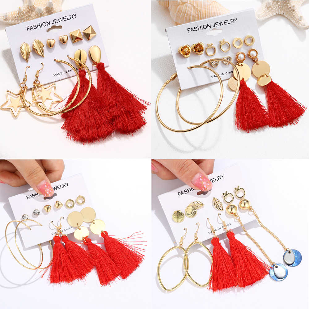 17New Design Red Color Flower Long Tassel Stud Earrings Set Star Moon Heart Round Irregular Steel Earrings Female Fringe Brincos
