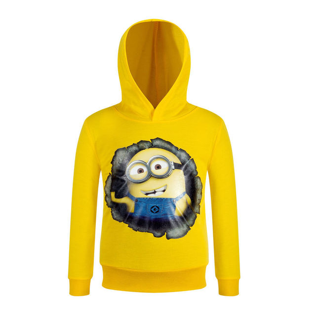 New Autumn Pullovers Girls Hoodies 3 4 6 8 10Y Minions Print Full Sleeve Jacket Sweatshirt Boy Kids Children Clothing AH-1608-1