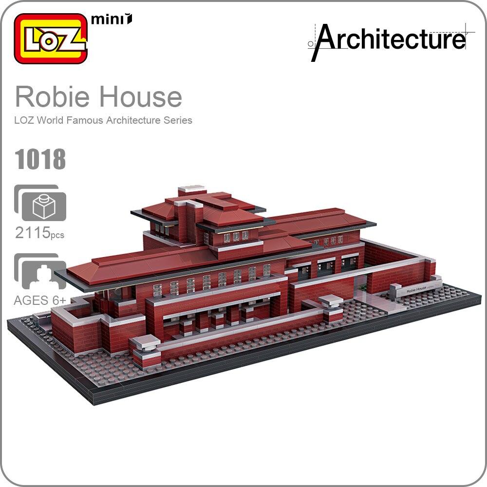 Blocchi LOZ Architettura Robie Casa di Modello di Costruzione Kit Mini Blocchi di Costruzione Fai Da Te Giocattoli di Fama Mondiale di Architetture di Villa Blocchi 1018