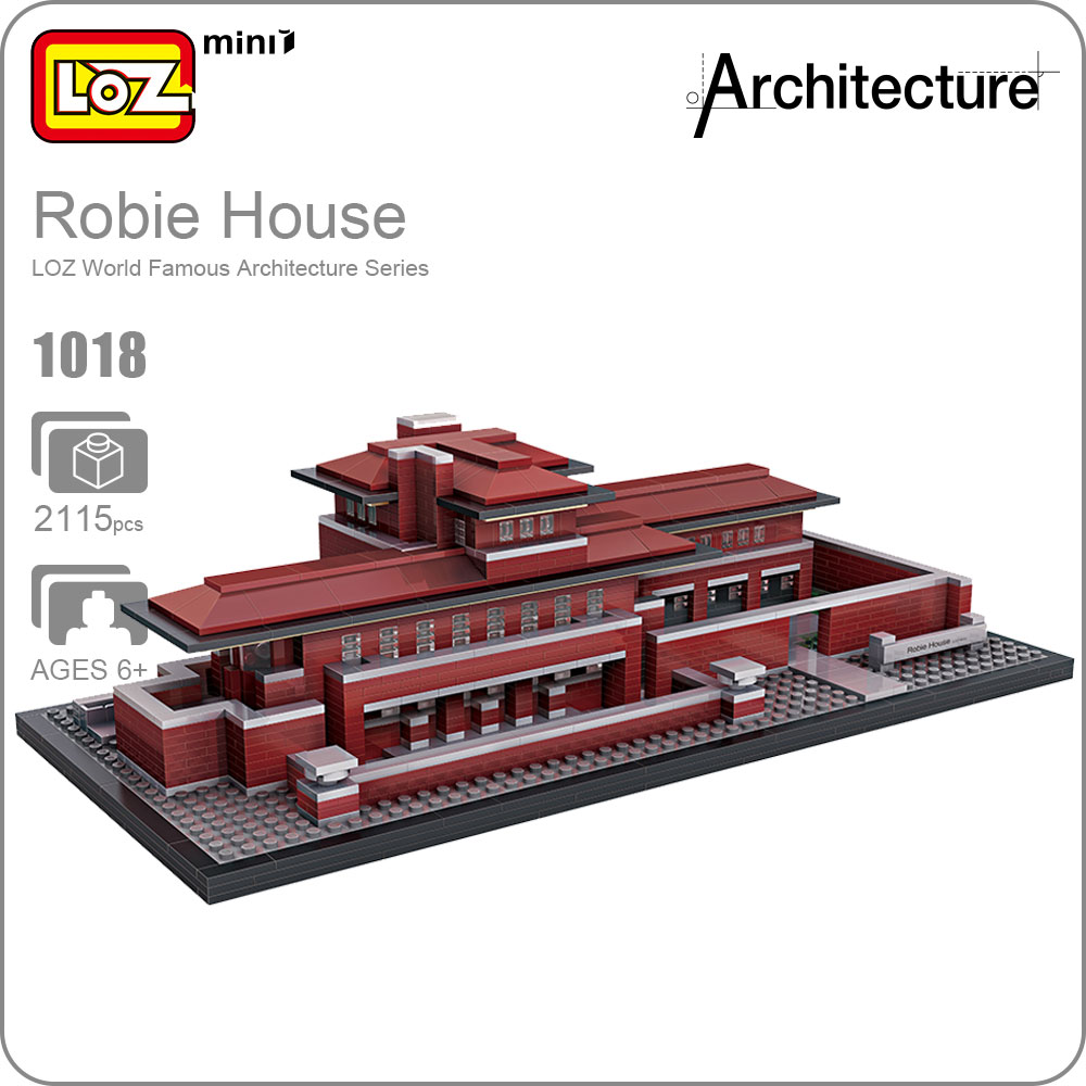 LOZ Blocks Architecture Robie House Model Build Kits Mini Blocks Diy Building Toys World Famous Architectures Villa Blocks 1018 mr froger loz taipei 101 tower diamond block world famous architecture series minifigures building blocks classic toys children