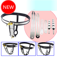 Stainless Steel Adjustable Model T New Style Male Chastity Belt Sex Toys Games for Men and Women lock underwear with anal plug
