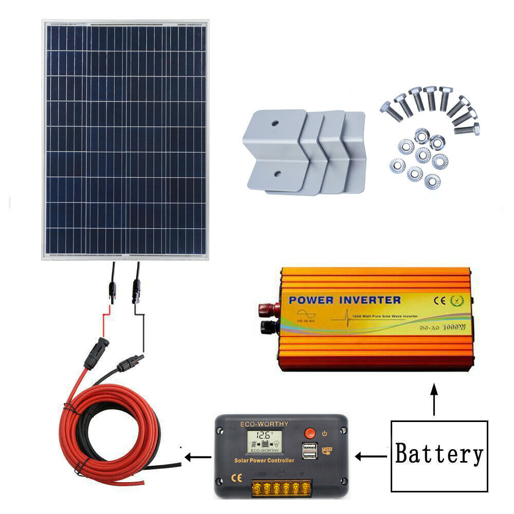 100w Solar Panel Kit 1000w Power Inverter 20a Solar Panel Controller For 12v Car Battery To Produce An Effect Toward Clear Vision