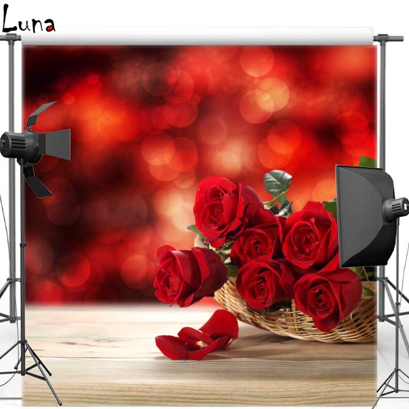 Red Rose Floral Vinyl Cloth Photography Background Wood Floor Backdrops for Wedding photo studio F1045