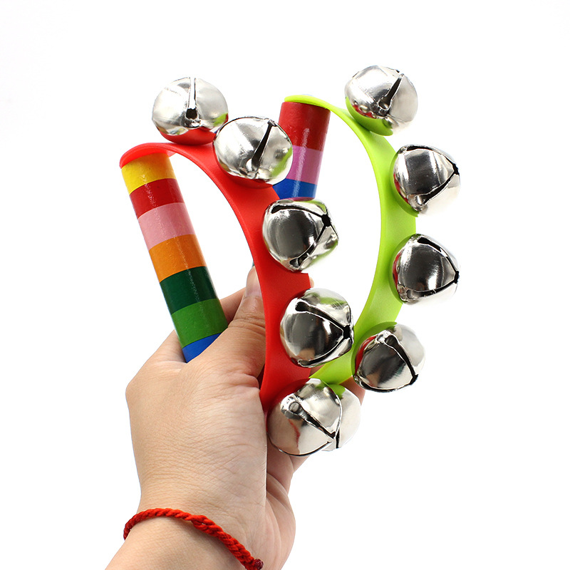 2019 Hot Sale Colorful Baby Rattles Wooden Bell Instruments Baby Rattles 10 Percussion String Of Bells