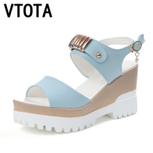 VTOTA 2017 Fashion Wedges Platform Sandals Women High Heel-ed Women Shoes Hot Buckle New Summer Shoes Open Toe Women's Shoes X10