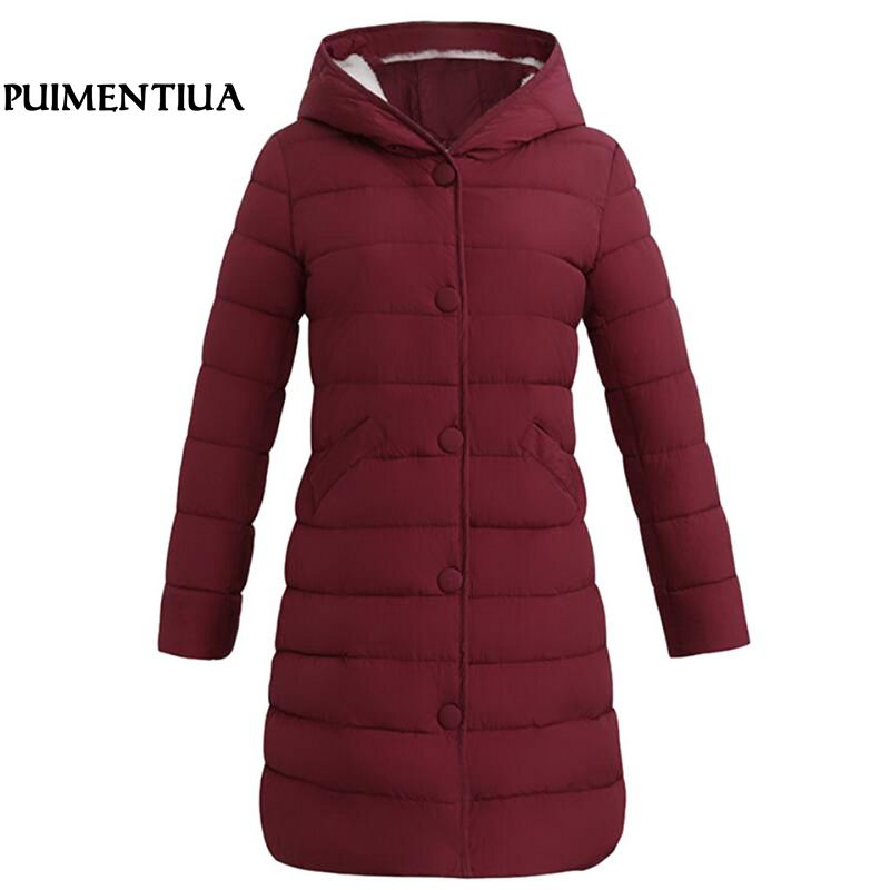 Puimentiua 2019 New Brand Winter   Down   Jacket Women Long White Duck   Down     Coat   Outwear Ultralight Hooded Thin   Coat   Parka Plus Size