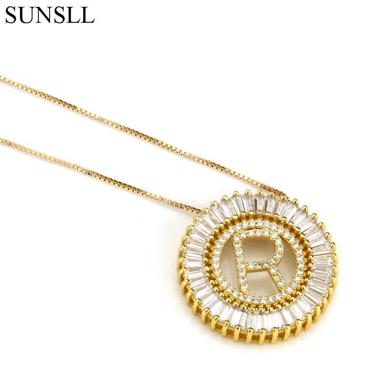 SUNSLL  Golden/Black Color Copper White Cubic Zirconia 26 Letter Pendant Necklaces Women's Fashion Jewelry CZ Colar Feminina