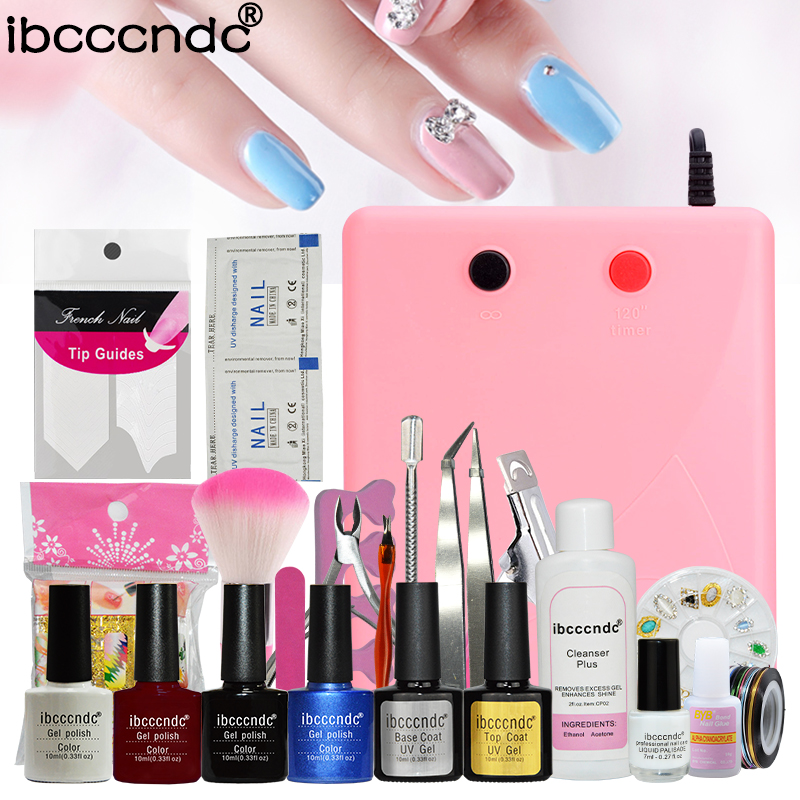 Professional Manicure Tools with 36W UV lamp Vernis Semi Permanent Top Coat Base Coat Gel Lak Gel Varnishes UV Nail Art Set nail art manicure tools set uv lamp 10 bottle soak off gel nail base gel top coat polish nail art manicure sets