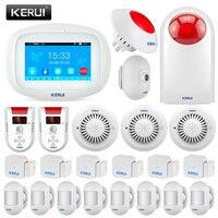 KERUI K52 4,3 дюйма TFT Цвет Сенсорный экран Беспроводной домашней безопасности Аварийная сигнализация wifi gsm с газ дым пожарная