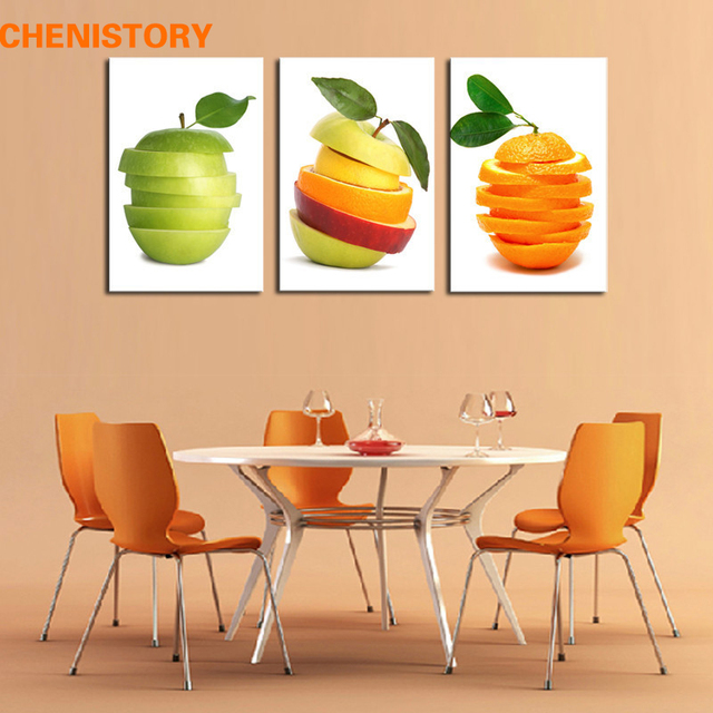 art for kitchen island small unframed 3pcs modern canvas fruit oil painting home decoration print picture artwork