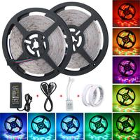 10M 3528 Waterproof LED Strip RGB Light 60LEDs/M Flexible Ledstrip for Decoration Remote Controller 12V 5A Power US/UK Plug