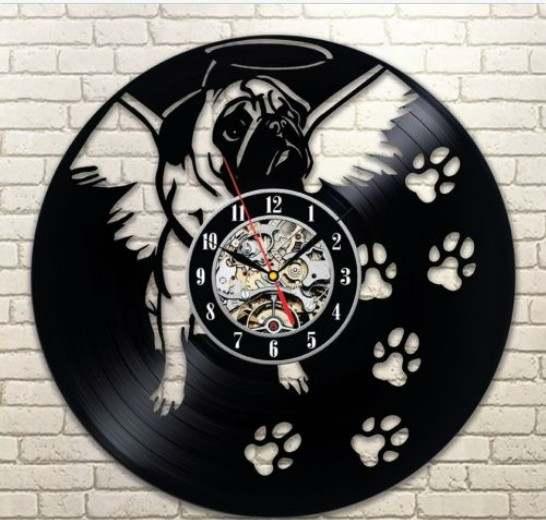 56b00954d90 2019 New Hot Creative CD Vinyl Record Wall Clock Modern Design Animal Dog  Cat Horse Wall