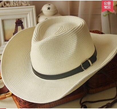 10cd54ba1b07 2017 Haute qualité Large Bord Faux En Cuir cowboy chapeaux hommes femmes  western Hollywood Style ...