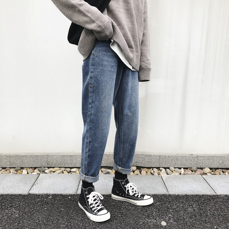 2019 Summer Falling Straight Loose Fit Jeans Student  Men's  Vintage Thin Casual Pencil Pants Taper  Denim Trousers