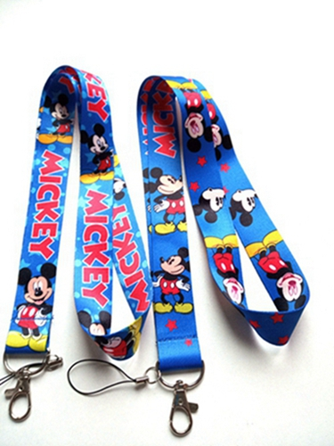 50 pcs mickey mixed Keychain Lanyard ID Badge Holders Cartoon Phone Neck Straps With Keyring DH