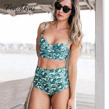 Купить с кэшбэком Sexy High Waist Bikini Set 2019 Women Swimwear Push Up Swimsuit Female Leaf Print Bathing Suit Vintage Swim Beachwear Biquinis