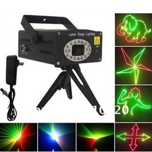 1PC D010 100-240V 650nm/100mW, 532nm/50mW Stage Lighting Red/Green/Yellow Multiple Shapes and Mode Transformation Projector