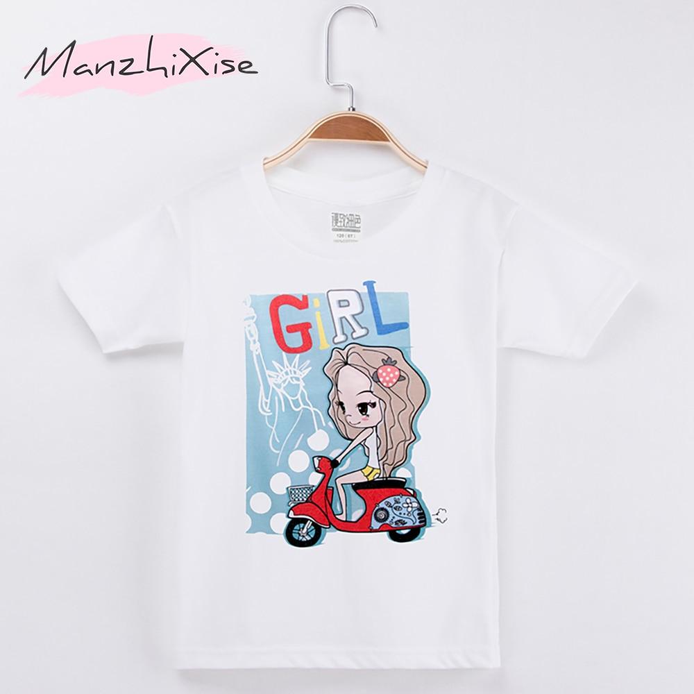 2018 Hot Sale Chidren Clothes Kids T-shirt Beautiful Girl Print 100% Cotton Chid Boy Short T Shirts Baby Girl Top Free Shipping