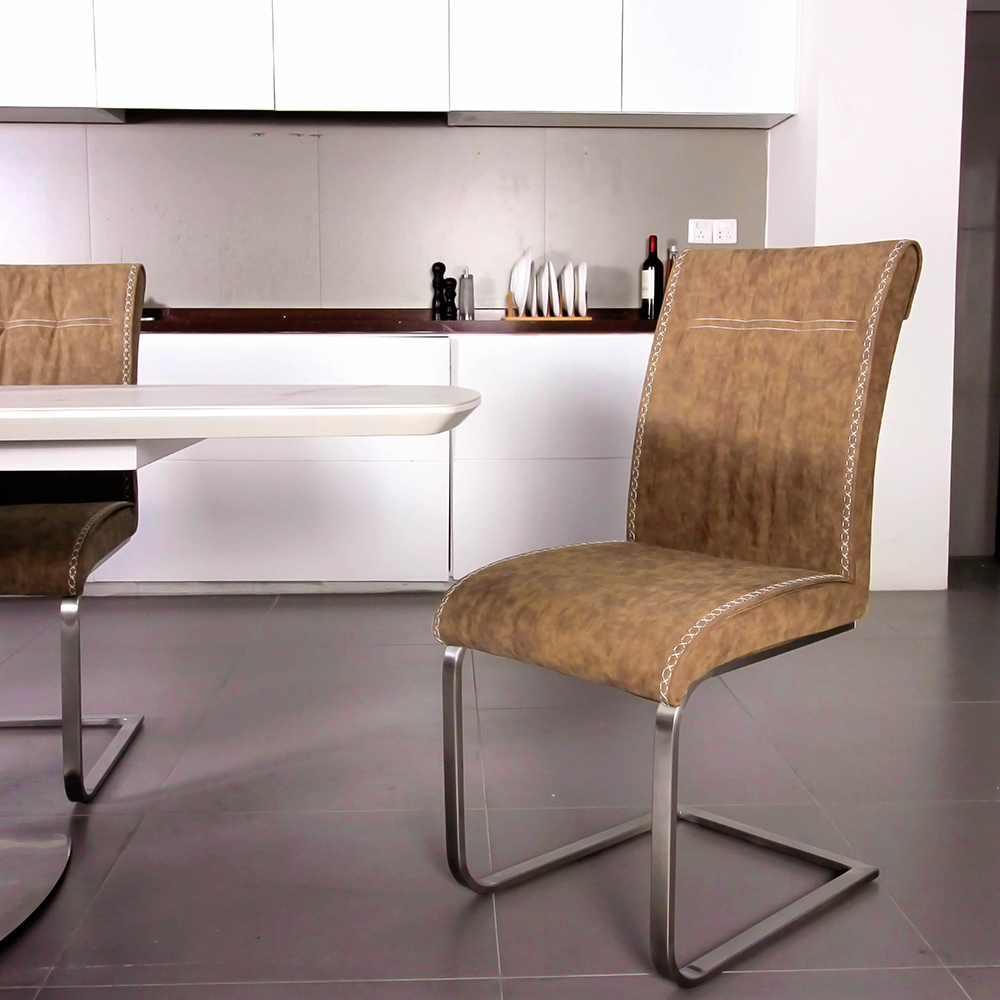 Comfortable Kitchen Chairs: Fancy Fix Bow Shaped Dining Chair Designer Vintage Brown