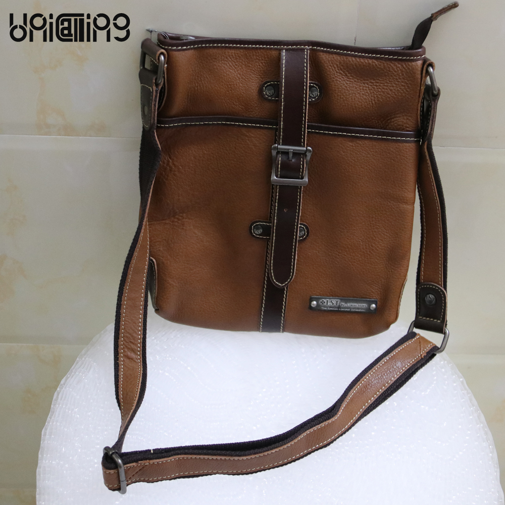 UniCalling New style Top grade messenger bag men leather luxury brand rivet men bag zipper cow leather men messenger bags new style messenger bag men leather top grade all match hasp fashion retro cow leather men bag solid color small shoulder bags