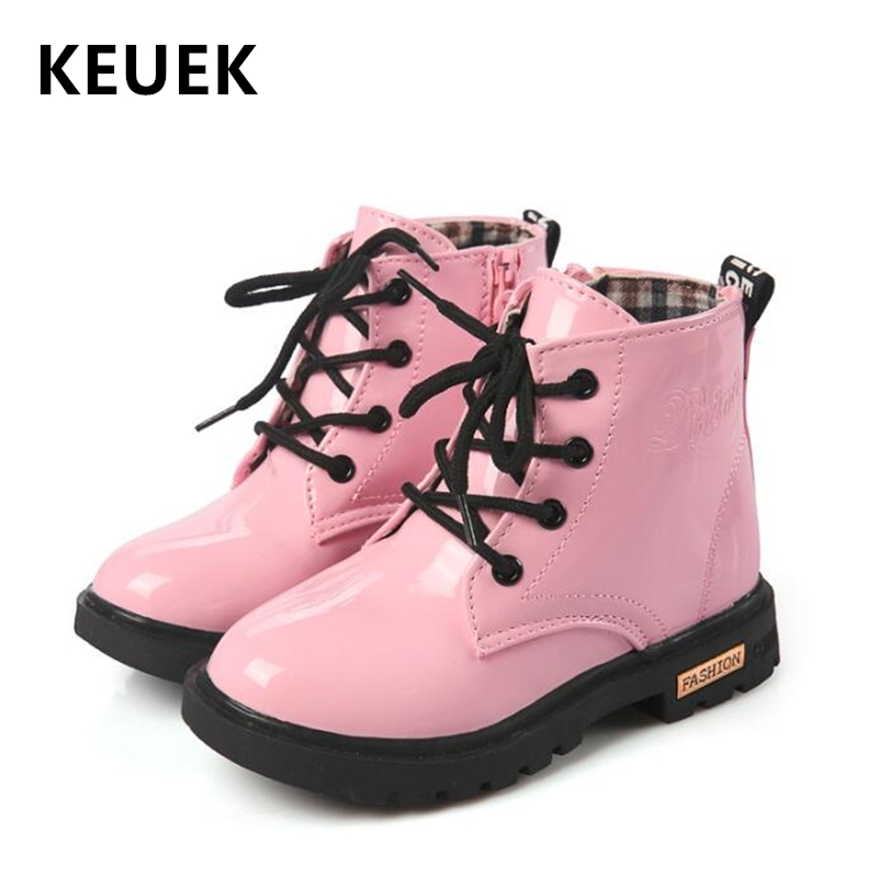 Autumn Winter Children Snow Boots Kids Leather Boots Boys Girls Shoes Motorcycle Boots Lace-Up Side Zipper Shoes B03