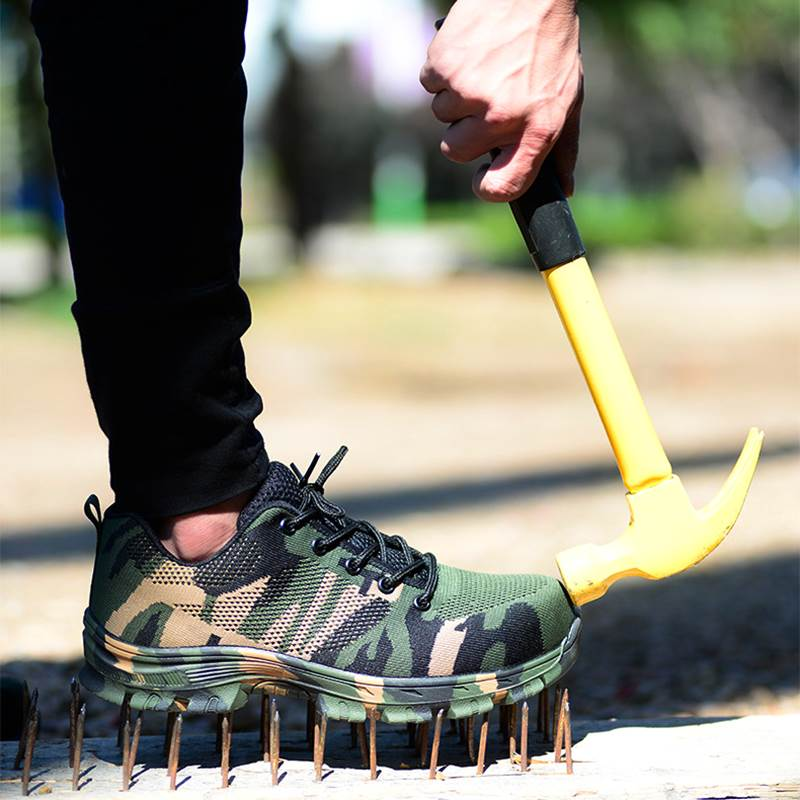Männer Sicherheit Arbeit Stiefel Mode Camouflage Frühling Atmungsaktives Mesh Stahlkappe Freizeitschuhe Herren Arbeit Pannensichere Schuhe