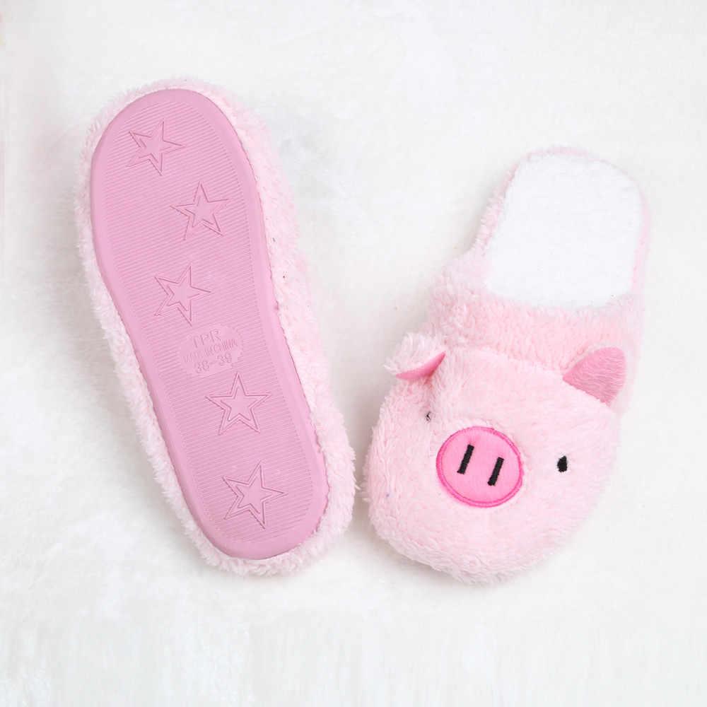 2019 ฤดูหนาวใหม่ผู้หญิงรองเท้าแตะรองเท้าสำหรับผู้หญิง Chinelos Pantufas Adulto แฟชั่นน่ารักหมีหมูบ้านในร่มขนสัตว์รองเท้าแตะ