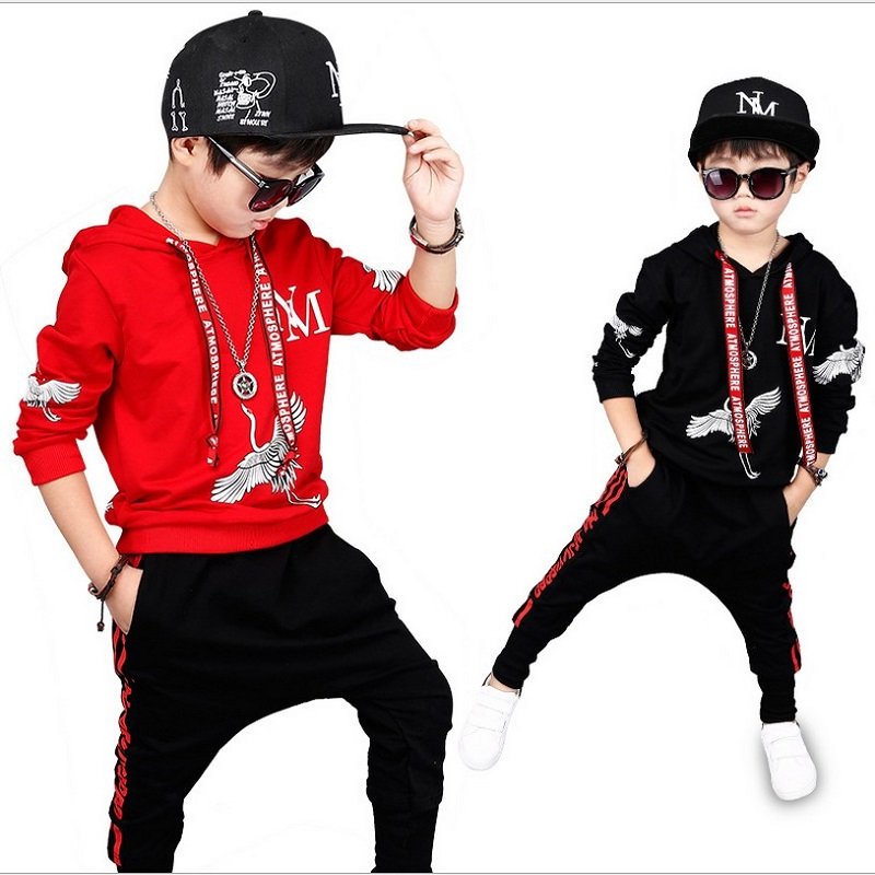 Hip Hop Costume 2017 Fall New Children's Clothing Set Outfit Boys Long Sleeve Sports Suit Kids Hoodies + Pants 2 Pcs Set 4-13Y 2015 new arrive super league christmas outfit pajamas for boys kids children suit st 004