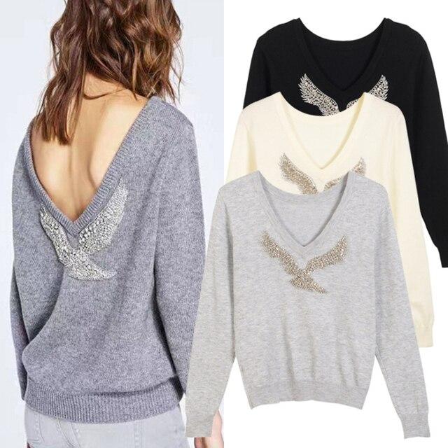 Ecombird 2018 nueva marca primavera moda casual mujeres lana suéter hecho  punto v,cuello profundo