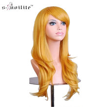 SNOILITE Cosplay Wig 23 Inch Women Halloween Long Curly Synthetic Wigs Yellow Blonde for human Hair(China)