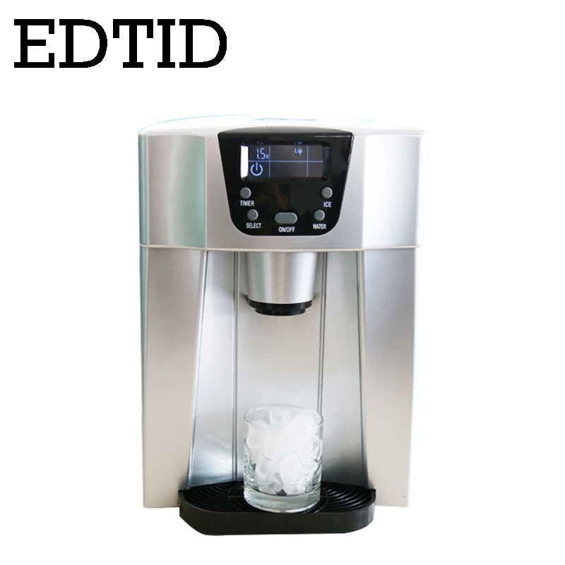 EDTID Electric Ice Maker Automatic Bullet Round Block Ice Cube Making Machine Cold Water Dispenser Icy Drinking Fountain EU Plug