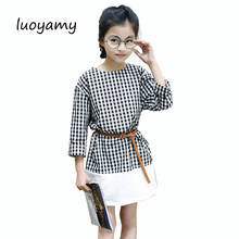 luoyamy 2017 Girls Baby Classic Plaid Patchwork Dress Spring Autumn Kids  Belt Graduation Gowns Children Clothing 47d644873e8d