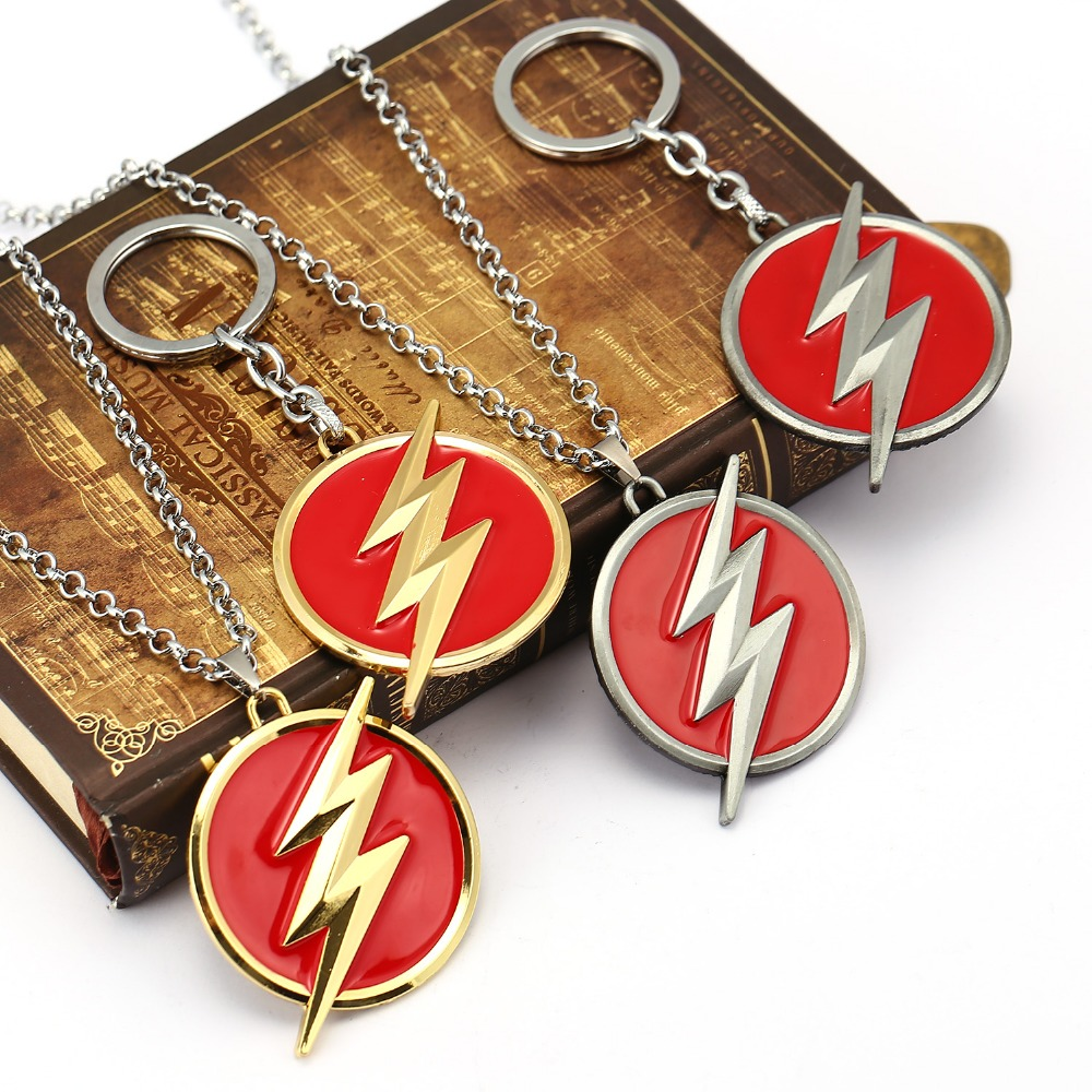 Movie Series Justice League The Avengers The Flash Lightning Logo Metal Keychain key chain for car Chaveiro 4 colors HF12003