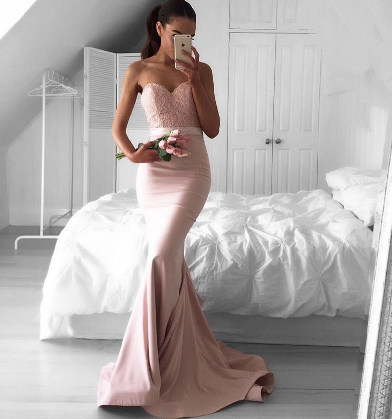 Cheap Lace Applique   Bridesmaid   Gowns Peach/Ivory/Champagne/Silver/Coral/Burgundy/Pink Sexy Satin Sash Mermaid   Bridesmaid     Dresses