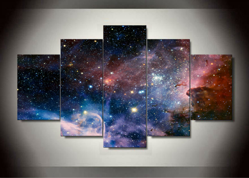5 panel wall art space painting home decoration canvas. Black Bedroom Furniture Sets. Home Design Ideas