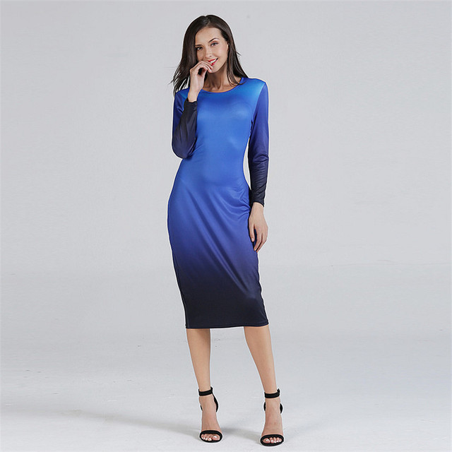 Women Autumn Bodycon Dress Elegant Round Neck Plus Size Dress Knit  Long Sleeve Dresses Gradient 5