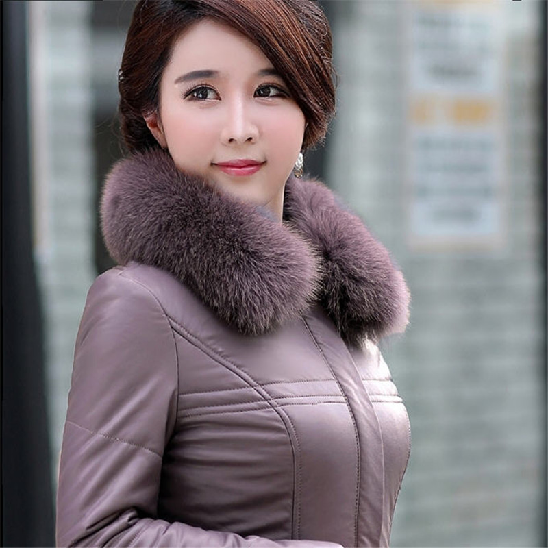Women Winter   Leather   Jacket With Large Fur Collar Slim Cotton Warm Coat 4XL 5XL 6XL Large Size Parkas For Mid-Aged Woman Ds50279