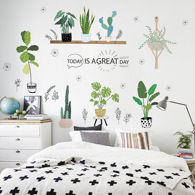 Green Grass Plants Wall Stickers For Kitchen Room Decor Living Room Market Shop  Decoration Pvc Wall Decals Diy Mural Art Posters
