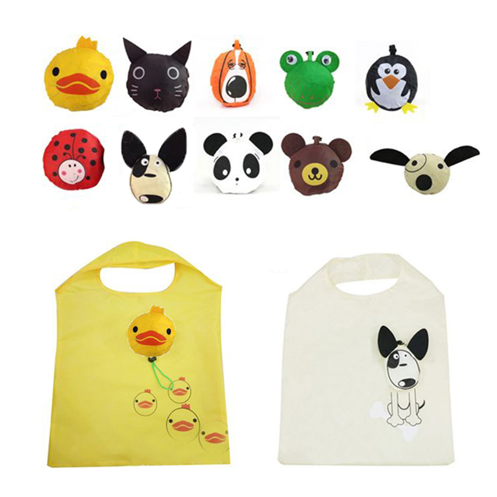 New Style Cute Shipping Bags Travel Foldable Handbag Grocery Tote Storage Reusable Shopping Funny Animal Bird Panda