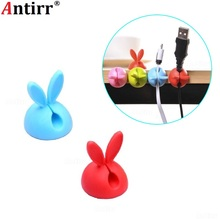 Rabbit Ears Cable Winder Bunny Usb Charger Wire Cord Organizer Clip Tidy Desktop Earphone Fastener Collation Holder fixer clamp 20pcs car cable winder fastener charger line clasp wire cord clip tie fixer organizer desk wall clamp holder management adhesive