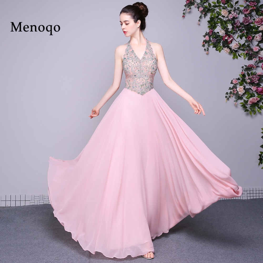 ≧Pink Chiffon A line Evening Dresses 2018 Elegant Sleeveless Halter ...