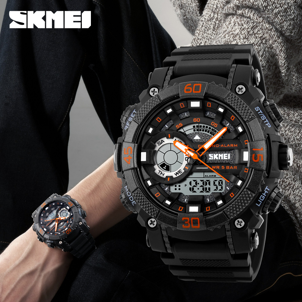 Skmei Mens Fashion Sports Military Watches Chronograph Leather Jam Tangan Pria Watch 9106 Original Water Resistant Black Red Outdoor Men Electronic Digital 50m Waterproof Wristwatches Relogio Masculino 1228