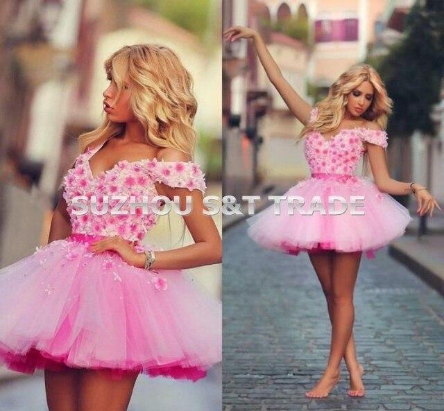 Hot pink V neck Off shoulder Appliques Prom Cocktail Dresses Vestido ...