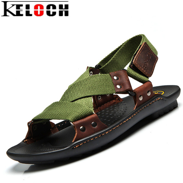 5ec45660a74717 Keloch Summer Beach Shoes Sandals 2017 Fashion Designers Men Sandals Brand Leather  Slippers For Men Zapatos Sandalias Hombre