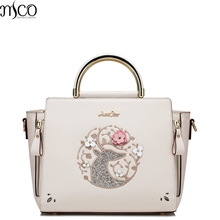 2017 Summer Luxury Sequined Reindeer Women Satchel Handbag Flower Embroidery Shoulder Bag Leather Smile Tote Bags For OL Ladies