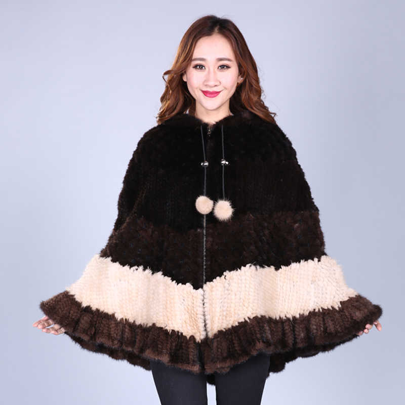 JKP 2018 nuevo caliente mujeres de punto de piel de visón de agua natural pompón abrigo moda flor murciélago suéter tejido mujer largo chal