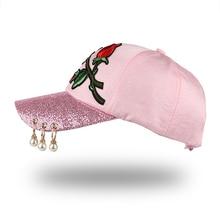 Embroidered Rose Baseball Cap