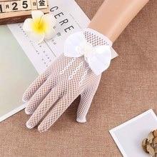 Для девочек в цветочек платья платье с перчатками аксессуары для костюмов для девочек, женский, сетчатый детский перчатки принцессы белые ажурные перчатки